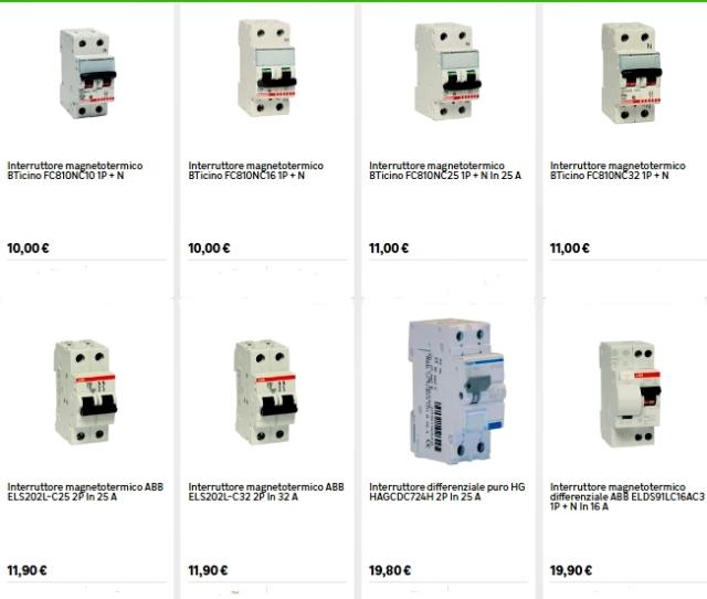 Costo del Quadro Elettrico gli Interruttori